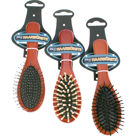Haarbürste Holz Massage 18cm 3fach sortiert