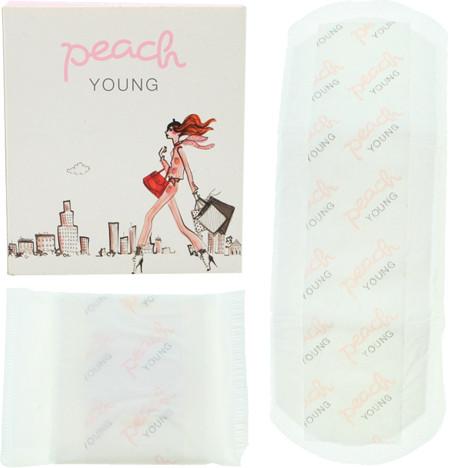 Damenbinde 2er Peach Young Normal mit Flügeln