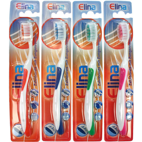 Zahnbürste Elina 1er mit Zungenreiniger und